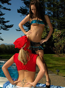 Kate makes Karen clean her pool naked from Karen Loves Kate